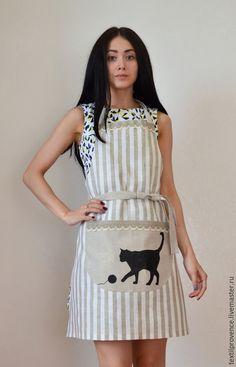Купить Фартук из льна Играющий кот - фартук, лен, прованс, текстиль для кухни, кухня, печать