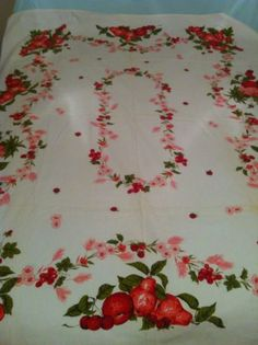 Vintage 1940s Fruit Pears Apples Tablecloth Red Christmas | eBay