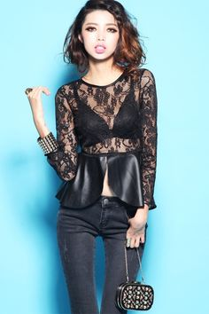 This blouse crafted in lace and PU, featuring round neckline with trimmed edge, see-through styling, PU peplum design, in medium length cut.$71