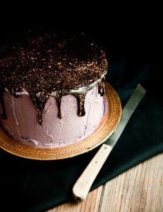 Gorgeous cake with chocolate icing and gold flakes!