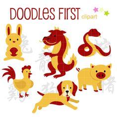 Chinese Animal Zodiac 2 New Year Digital Clip Art by DoodlesFirst