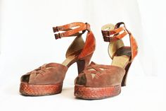 40s Platform Shoes 1940s Womens High Heels Tan Python and Taupe Suede Open Toe Double Ankle Strap Size 7 Half 8 Seven. $89.00, via Etsy.