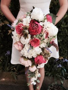 Sumptuous Pink wedding teardrop bouquet / cascade bouquet / bridal bouquet - artificial wedding flowers / silk flowers / keepsake bouquet