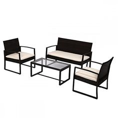 $169 - 4 PCS Outdoor Patio Sofa Set Sectional Furniture PE Wicke...