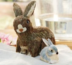 """Bottle Brush Bunny ~ palm fiber over synthetic base, 7""""h natural or 3""""h mini-grey 