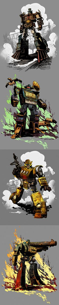 Optimus Prime - Steam Engine, Soundwave - Phonograph, Bumblebee - Horseless Carriage, Megatron - Six-Shooter / Steampunk Transformers by Brian Kesinger