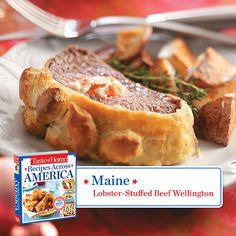 50 States in 50 Days:  Maine :: Lobster-Stuffed Beef Wellington Recipe from Taste of Home.    Find regional Northeastern recipes like this one and more in our new cookbook, Recipes Across America---->  http://www.tasteofhome.com/rd.asp?id=22997