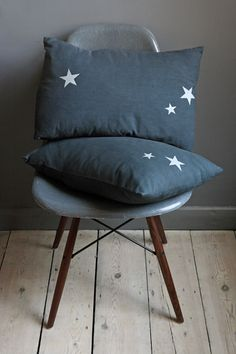 Silver Star Grey Cotton Linen Cushions
