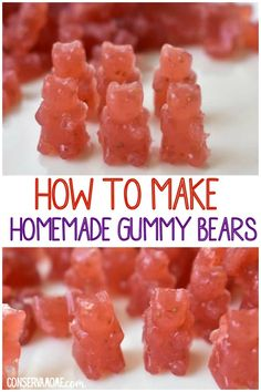 homemade gummy bears recipe - Here's a fun and easy Homemade Gummy Bears recipe you can make for your kids that only has 4 ingredients. Best of all they're delicious! Best Dessert Recipes, Fun Desserts, Sweet Recipes, Real Food Recipes, Delicious Desserts, Snack Recipes, Cooking Recipes, Yummy Food, Dinner Recipes