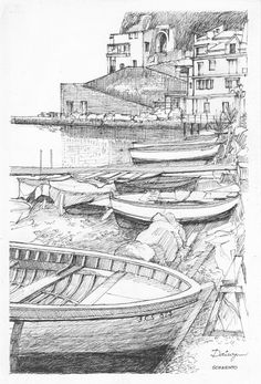 A statue in a grotto looks down over fishing boats on the beach in Sorrento, Bay of Naples, Italy. Pen and ink freehand drawing by Dai Wynn on 300 gsm smooth surface Arches paper. 29 cm high by 20 cm wide (11.5 inches by 8 inches) approximately. To check on the availability for purchase, please visit http://www.daiwynn.com/artist/sorrento-grotto/