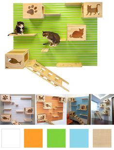The originalCatsWall modular cat climbing wall is the perfect way to create a flexible vertical space for cats. The CatsWall system uses aluminum slats that attach to any wall in combination with shelves, perches, boxes and laddersthat easily attach to the slat wall, allowing the attachments to be removed forcleaning or reconfiguration. All of the…