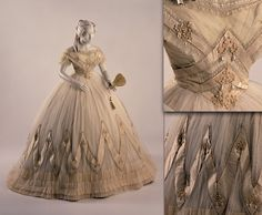 c1863 Ball Gown, tulle over silk with lavish satin ribbon trim w/pearls & lace.