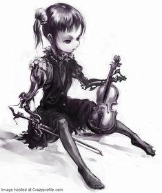 e-shuushuu kawaii and moe anime image board Creepy Drawings, Dark Drawings, Moe Anime, Gothic Dolls, Goth Art, Spooky Scary, Dark Gothic, Dark Art, Female Art