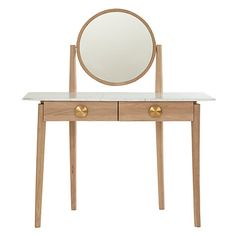 Bethan Gray for John Lewis Genevieve Marble Top Dressing Table, Oak, marble, brass H128 x w48 x D110