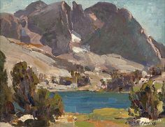 Edgar Alwin Payne - Lake in a Sierra Landscape. Oil on canvas, Impressionist Landscape, Impressionist Paintings, Seascape Paintings, Landscape Art, Landscape Paintings, Oil Paintings, Modern Paintings, Acrylic Paintings, Western Landscape