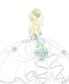 Ball gown style wedding dress drawing