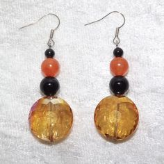 Earrings  Autumn Circles  Gemstone and Glass  Free by KasumiCrafts