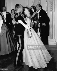 26 NOVEMBER 1954 Queen Elizabeth II dancing with Air Marshal Sir John Baldwin - colonel of the Hussars, at a ball held at the Hyde Park Hotel, London, Princess Elizabeth, Crown Princess Victoria, Queen Elizabeth Ii, Elizabeth Taylor, Queen Liz, Queen Victoria, Windsor, Duchess Of Cornwall, Duchess Of Cambridge
