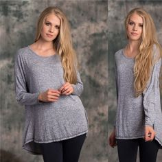 Oversized Comfy Shirt. Only small available!! Wear and go Ladies Heather Knit Long Sleeve Longline Back Detail Tee.  This top is perfect layered or alone.  Wear with leggings or jeans to complete a comfortable yet casual look.  Content:  97% Rayon, 3% Spandex Lewboutiquetwo Tops