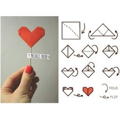 An easy love message for your Valentine, with Origami Diy Origami, Origami Heart, Origami Paper, Origami Letter, Origami Ideas, Diy Paper, Diy St Valentin, Cute Gifts, Diy Gifts