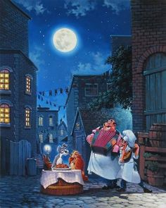 """Beautiful Night"" by Rodel Gonzalez for Disney Fine Art Walt Disney, Disney Films, Disney Pixar, Disney Dogs, Disney Cartoons, Disney And Dreamworks, Disney Magic, Disney Animation, Minnie Mouse"