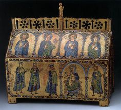 Reliquary of St Valerie c. 1175 Wood, engraved copper with champlevé enamel, and gilding, height 28 cm The Hermitage, St. Petersburg