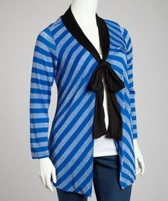 Another great find on #zulily! Sapphire Stripe Cardigan - Plus by Yummy #zulilyfinds