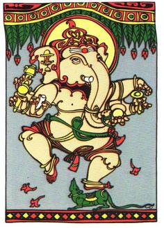 Indian Traditional Paintings, Indian Paintings, Ganesha Pictures, Religious Paintings, India Art, Indian Artist, Hindu Deities, Lord Ganesha, Mural Art