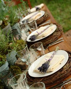 rustic table decoration #lavendel #wood #herbal #centerPiece-hopefully enough ideas to come with for the decorating meeting tomorrow night for Erin...