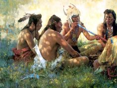 Crow Pipe Ceremony by Howard Terpning