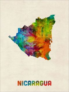 22 in x 32 in paint splashes world map 3 canvas art nicaragua watercolor map art print poster s1336 gumiabroncs Choice Image
