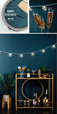 Your New Year's Eve party wouldn't be complete without the rich blue hue of Midnight In The Tropics by BEHR Paint. This elegant paint color adds a vintage style to the interior design of your home. Use a chic gold bar cart, string lights, and a navy velvet chair to complete this retro look. Click here for more home entertaining inspiration. #VelvetChair
