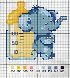 Elephant and bottle Cross Stitch For Kids, Cross Stitch Cards, Cross Stitch Baby, Cross Stitching, Cross Stitch Embroidery, Embroidery Patterns, Cross Stitch Patterns, Crochet Cross, Crochet Chart