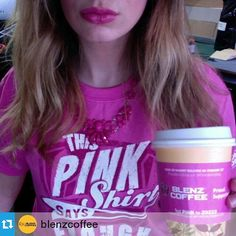 """@japan_pinkshirtday's photo: """"#Repost @blenzcoffee ・・・ We are a very proud supporter of #PinkShirtDay!  Show us how you are standing up against bullying & tag your pics with #PinkShirtDay and #Blenz for a chance to win two $20 Blenz gift cards! #PinkItForward #Vancouver #BC"""""""