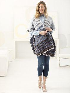 Tonal Stripes Ruana - free crochet pattern by Teresa Chorzepa for Lion Brand Yarn.