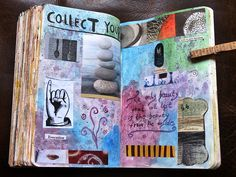 wonderful background and journal page that comes together even with seemingly random images