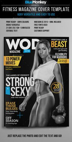 Fitness Magazine Cover Template — InDesign INDD #blackandwhite #tech • Available here → https://graphicriver.net/item/fitness-magazine-cover-template/14262188?ref=pxcr