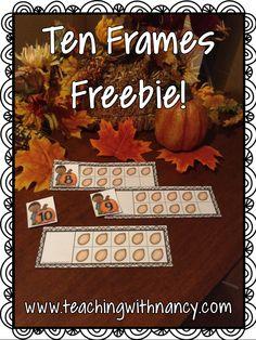 FREE: 0-10 Fall Pumpkin Ten Frames for PreK or Kindergarten.
