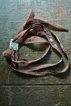 embroidered silk ribbon, distressed pewter - lovely
