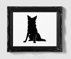 Border Collie Silhouette - Hand-cut Original Dog Art - Personalization, Multiple Colors and Backgrounds Available