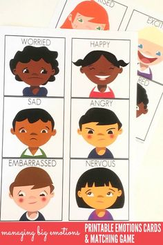 Kids Health Managing Big Emotions: Printable Emotions Cards and Matching Game. Great for use with children of all ages at home or school. - Help children of all ages learn to recognise, manage and empathise with these big emotions cards and matching game. Emotions Game, Feelings Games, Emotions Preschool, Teaching Emotions, Feelings Chart, Emotions Cards, Emotions Activities, Free Preschool, Feelings And Emotions