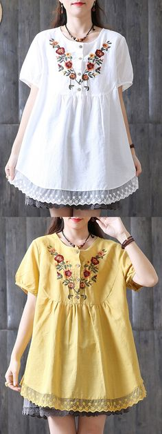 Embroidered Laced Patchwork Short Sleeve Loose Vintage Blouses. #tops #lace #summer
