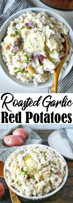 Roasted garlic red mashed potatoes are the perfect rustic side dish that pairs well with almost anything. A delicious way to impress company. #redpotatoes #garlicpotatoes #easysidedish