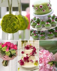 Pink & Green Wedding Collage