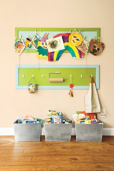 Love this idea for displaying kids artwork (and as a general way to enter the playroom - or their bedrooms).