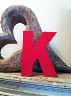 Freestanding Wooden Letter 'K' - Chunky Ariel Font - 10cm - Handpainted