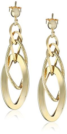 "14k Italian Yellow Gold Polished and Textured Dangle Earrings, 1.75"" Amazon Curated Collection http://www.amazon.com/dp/B008OF2LE6/ref=cm_sw_r_pi_dp_B3YKub1E9QQMZ"
