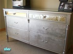 spray paint metallic furniture- i'd love a chest or table that was metallic with a chalkboard top.