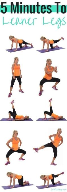 Looking for a great leg and inner thigh workout? Try these workouts for toned and lean legs! These quick workouts take 5 minutes of your time and you can do them daily, whenever you have the time. This amazing list includes 5-minute ab workouts for flat belly, 5-minute butt workouts, 5-minute leg workouts and inner thigh workouts and 5-minute arm workouts. Most of these exercises require almost no equipment. Some of them - just a pair of dumbbells and you can do them at home or anywher...