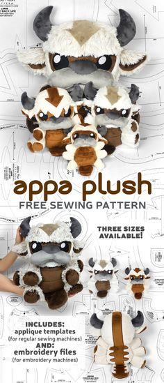 Plushie Patterns, Animal Sewing Patterns, Sewing Patterns Free, Free Sewing, Free Pattern, Sewing Toys, Sewing Crafts, Sewing Projects, Sewing Stuffed Animals